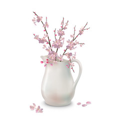 Spring blossoms branch in jug vector