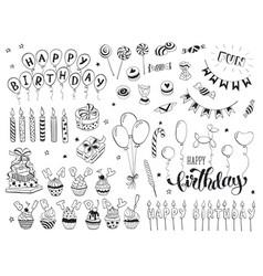 happy birthday doodles vector image