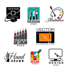 Graphic and web design studio symbol set vector