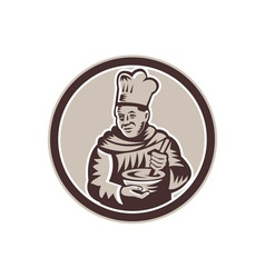 Chef cook mixing bowl woodcut retro vector