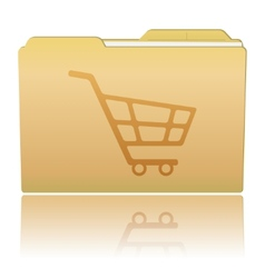 Folder with shopping cart vector