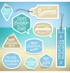 Summer holiday vacation stickers and labels vector
