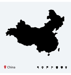 High detailed map of china with navigation pins vector