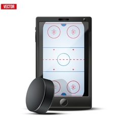 Smartphone with ice hockey puck and field on the vector
