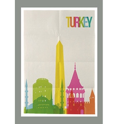 Travel turkey landmarks vintage paper poster vector