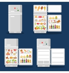 Opened refrigerator with food in flat style vector