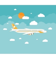 Picture of a civilian plane with clouds vector