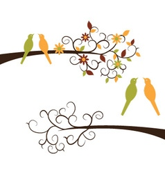 Cute birds on branches vector