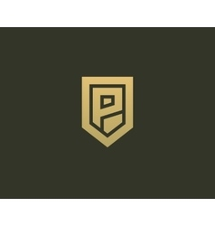 Abstract letter p shield logo design template vector