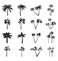 Palm tree icons set simple style vector