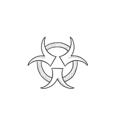 Bio hazard sign sketch icon vector