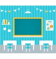 Classroom with blank chalkboard flag garlands vector