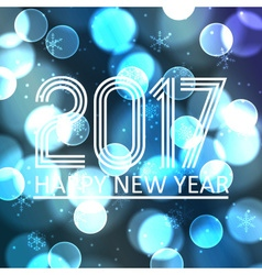 Happy new year 2017 on blue bokeh circle vector