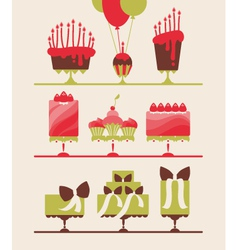 Beautiful cakes and cupcakes vector
