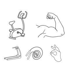 Biceps exercise bike skipping rope treadmill vector