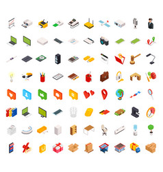 big set of isometric volumetric of icons on a vector image
