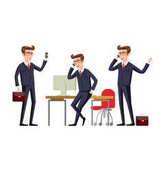 businessman in a office workplace is sitting on a vector image vector image