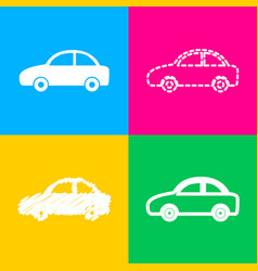 Car sign four styles of icon on four vector