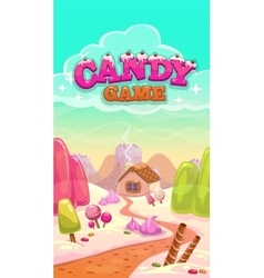 Cartoon candy world with title vector image