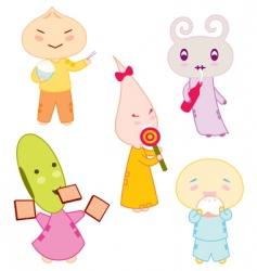 cartoon characters eating vector image