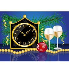 Christmas card with a clock vector image