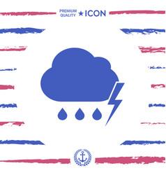 cloud thunderstorm lightning rain icon vector image