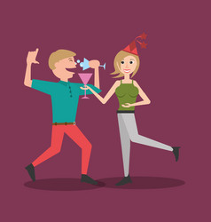 Couple dancing together drink vector
