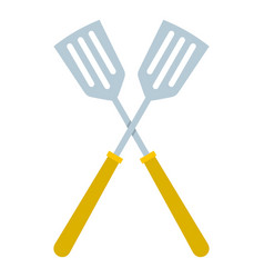 Crossed metal spatulas icon isolated vector