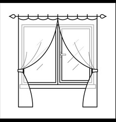 Curtains in thin linear style vector