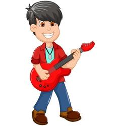 cute boy cartoon playing guitar vector image