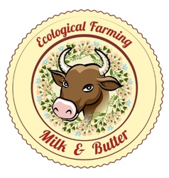 Ecological farming milk and butter label vector