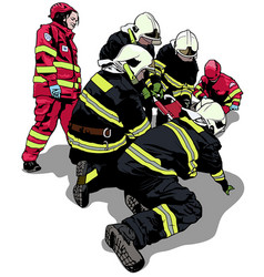 Firefighters and rescuers vector