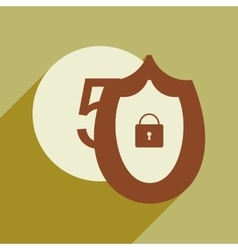 Flat with shadow icon Coin and Shield vector image vector image