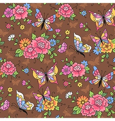 floral pattern butterflies vector image vector image