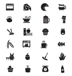 Food solid icons 6 vector