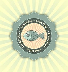 Fresh fishes symbol vector image