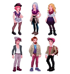 Group of young people both males and females vector
