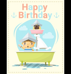 Happy birthday card with little boy and friend 2 vector