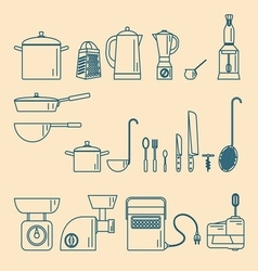 Kitchenware Appliances and utensils vector image vector image