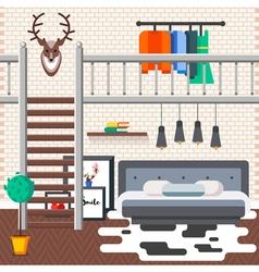Loft bed room vector