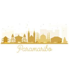 Paramaribo city skyline golden silhouette vector