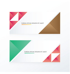 Pink brown green triangle banner vector