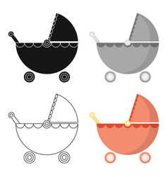 Pram cartoon icon for web and mobile vector