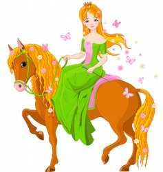 princess riding horse vector image vector image