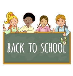 Schoolgirls and schoolboys at the blackboard vector image