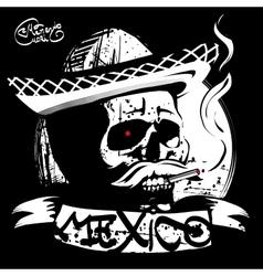 skull in a sombrero print T-shirt vector image
