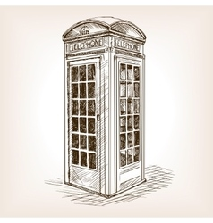 Vintage phone booth sketch vector