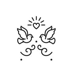 Wedding doves birds icons valentines day love vector