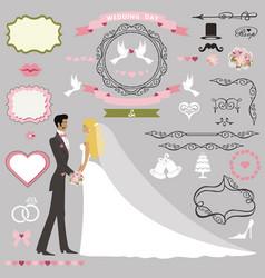 wedding invitation decor setbride and groom vector image