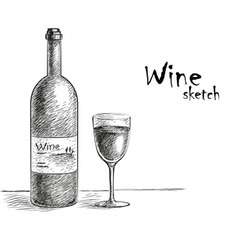Wine and glass sketch vector
